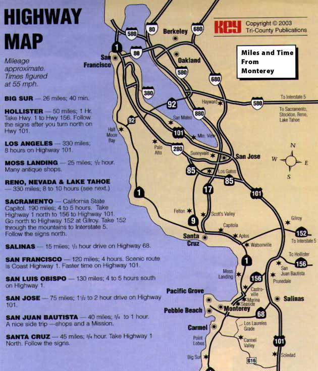 Map To Monterey Peninsula Montery Peninsula Map